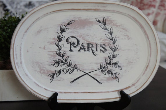French Shabby Chic Wood Platter - Pink and White