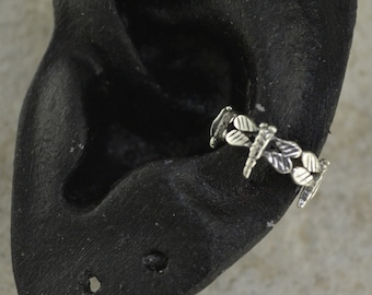 Ring of Dragonflies Ear Cuff - Sterling Silver - SINGLE SIDE