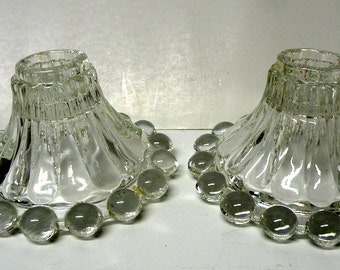 2 CANDLE STICK Holders, Anchor, Vintage Clear Glass Heavy- Hocking, Berwick Bubble Boopie Glass