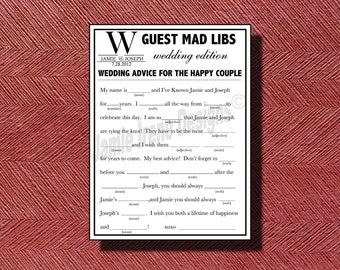Double sided wedding menu with mad lib for Guest libs wedding edition template