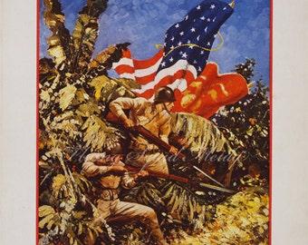 World War II Poster - Let's Go Get 'Em, US Marines - 8x10 print size