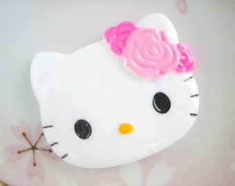 1pc - LL Kitty Light Pink Rosette Decoden Cabochon (40x47mm) HK10003
