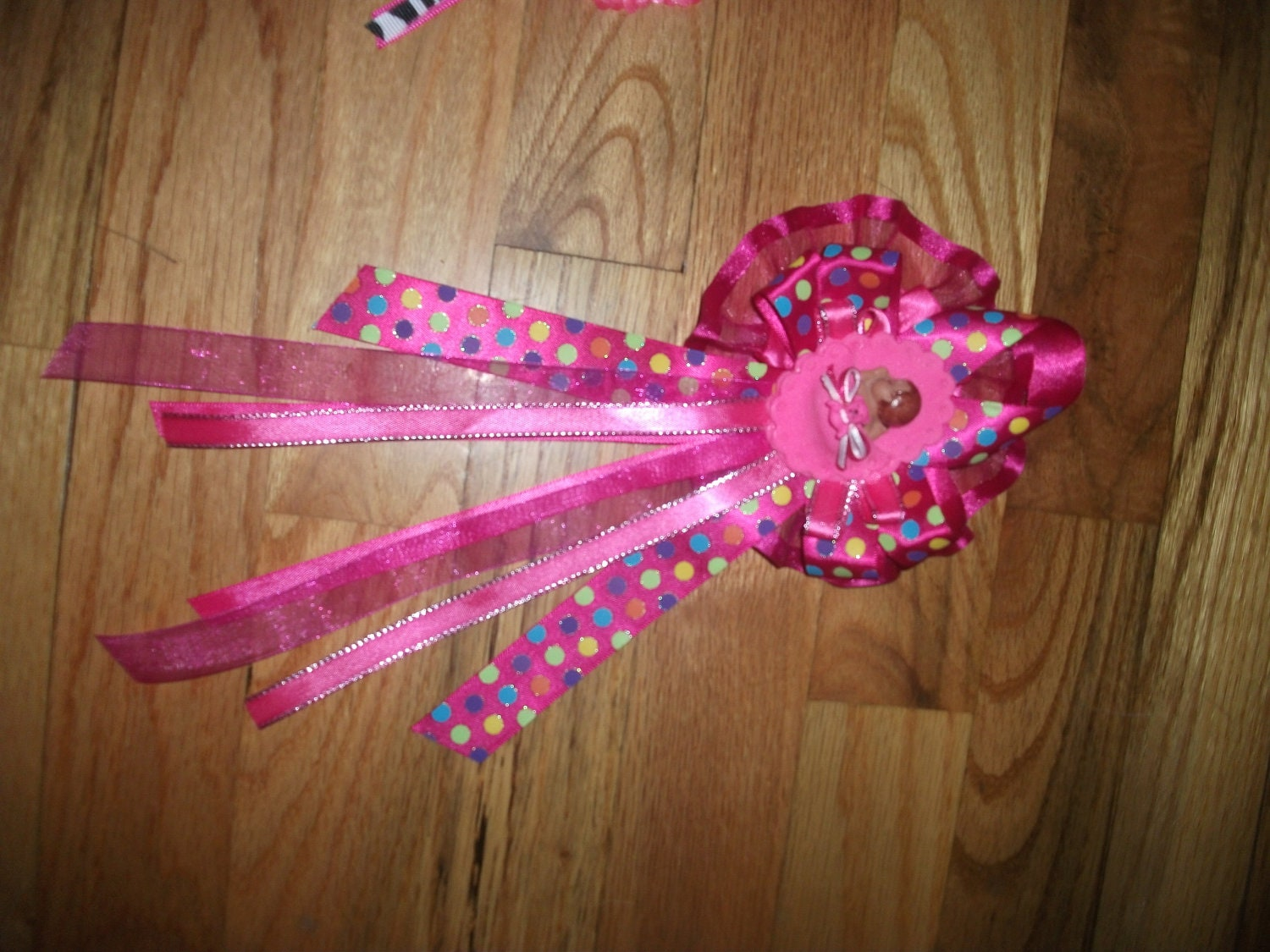 custom baby shower corsage hot pink and polka dot