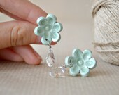 Mint and crystal - flower post, stud earring,