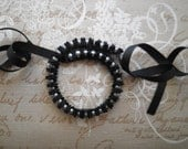 SALE Black and gray ribbon necklace - Necklace with black ribbon and gray glass pearls