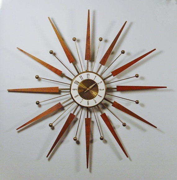 mid century modern starburst wall clock by elgin by