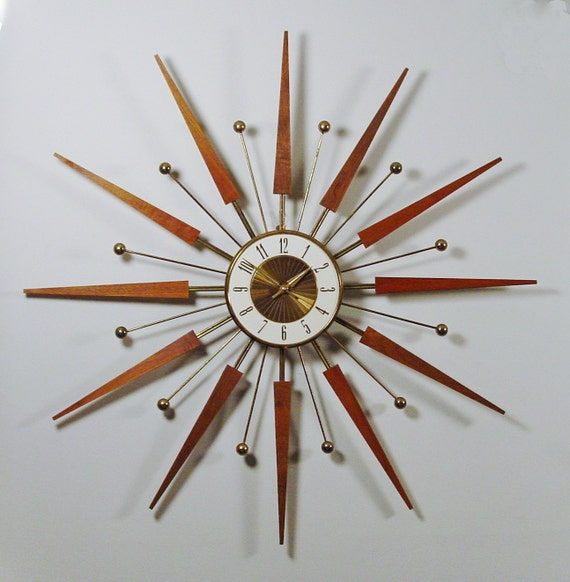 mid century modern starburst wall clock by elgin atomic design 1960s