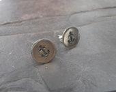 Sterling Silver Stud earrings Nautical Anchor Metal Stamped