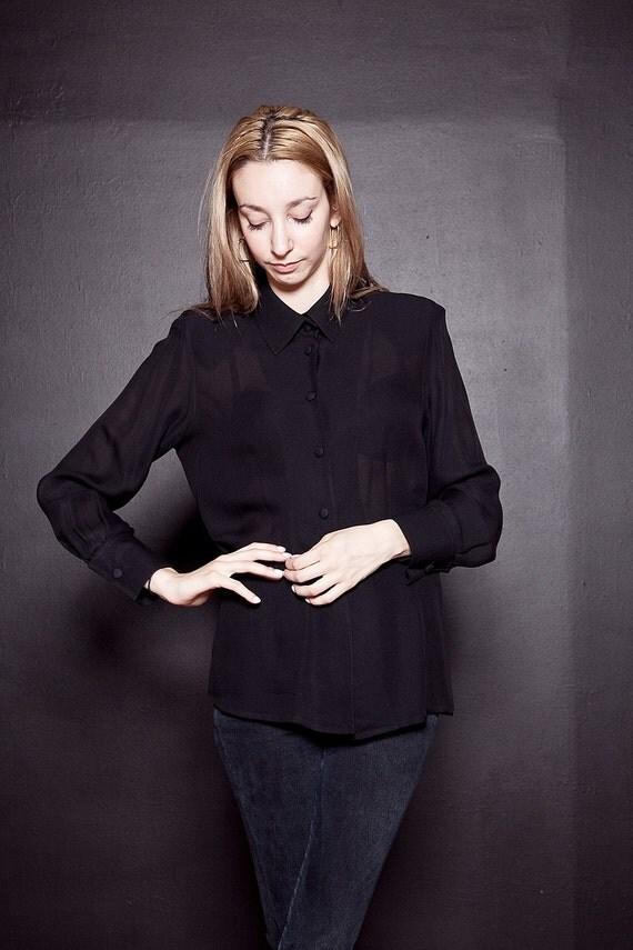 Vintage Black SILK Oxford / Semi Sheer Long Sleeve Silk Blouse / M