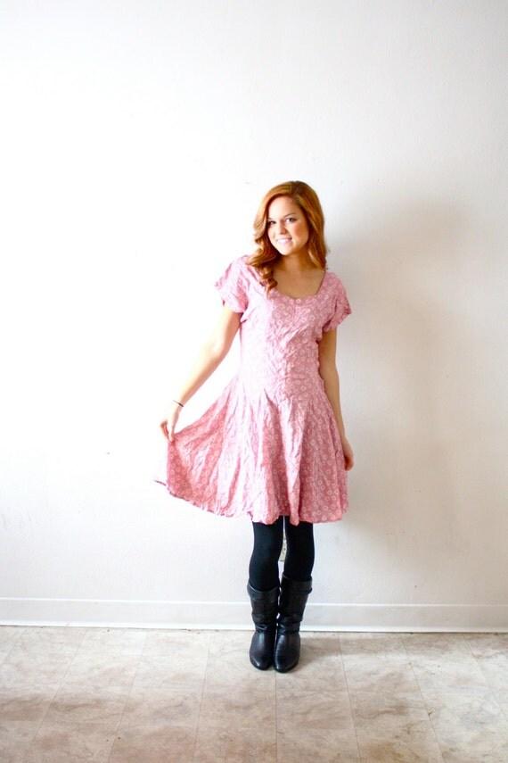 Vintage pink pastel floral dress