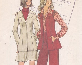 Simplicity 5920 Size 14 bust 36 uncut sewing pattern unlined jacket vest short skirt and pants from 1973