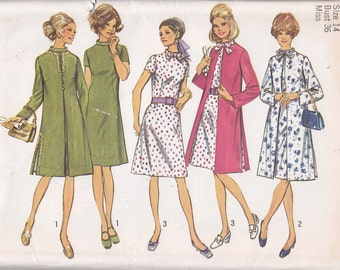 Simplicity 9157 Size 14 Bust 36 from 1970 coat and dress uncut sewing pattern