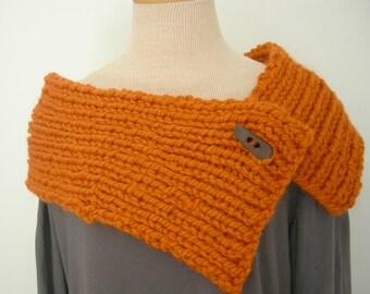 Chunky Knitted Capelet, Pumpkin Orange, Cowl Neckwarmer