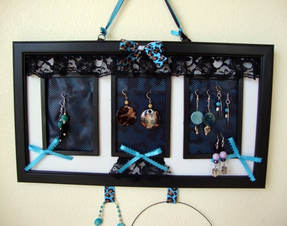 """Earring/Necklace/Bracelet  Holder Display Hanging Frame- Jewelry Holder- Lace Punk/Goth Leopard  Print- 15""""X 8 1/2"""" Frame- FREE U.S Shippin"""