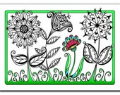 Flower Garden 5x7 Card and Bookmark Doodle Set