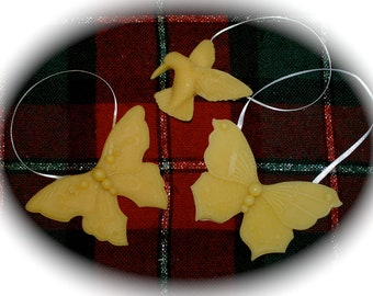 Beeswax Ornaments - Butterflies and Hummingbird - Window Decor - Beeswax Wall Hangings - Beeswax Decorations - Handmade Christmas Ornaments