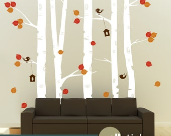 Birch Trees Wall Decal - Set of 5 - Nursery Wall Decor & Living Room - WD0029
