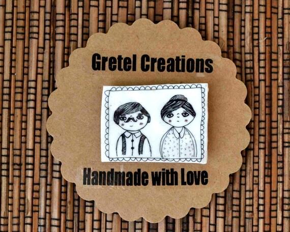 monsieur madame fridge magnet brooch badge ready to ship shrink plastic black white button illustration art hand drawn