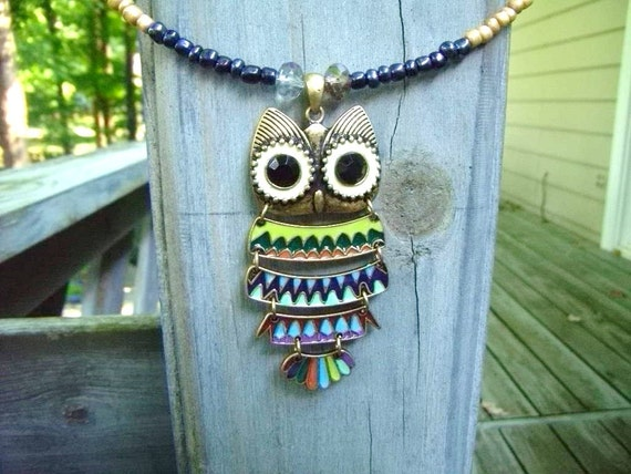 OWL MEMORY WIRE Necklace Large Owl Pendant Antiqued Metal Pastel Colors