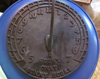 SALE...old sun dial, iron/brass, virginia metal works, garden art  industrial