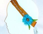 HOLIDAY GIFT SALE!  Silk Elastic Headband Hair Fascinator Rust Silk Turquoise Flower Lime Leaves Beaded Handmade Christmas Gift