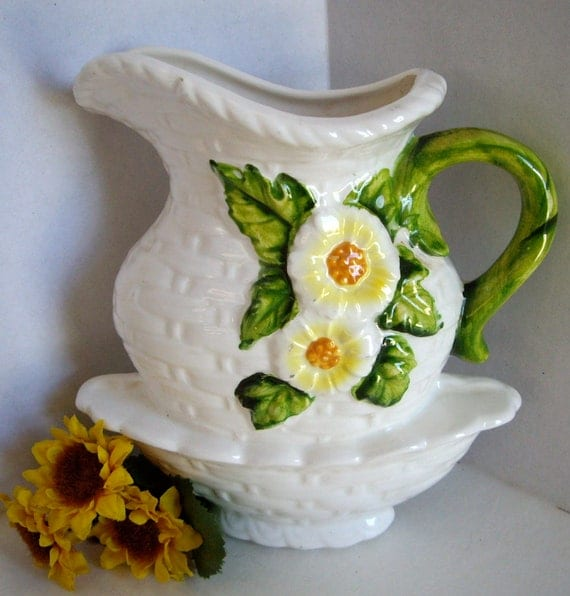 Vintage Sunflower Wall Planter 1950s
