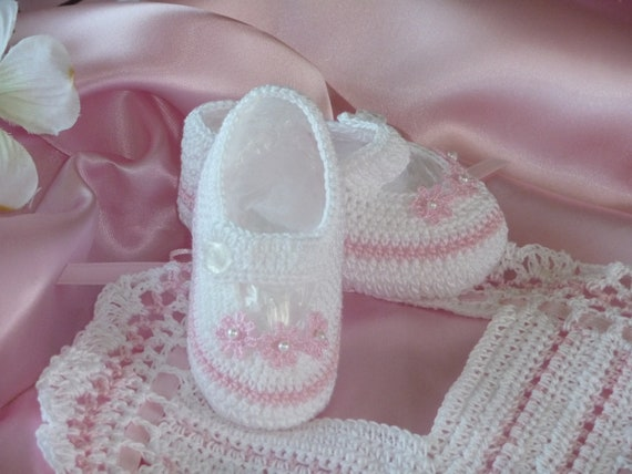 Mary Jane Hand Crocheted White and Pink Booties