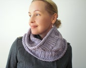 Knit winter cowl / lavender / lilac / soft violet / urban rustic / autumn accessory / pastel / chunky / neck cozy / comfort / warm