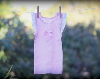 Hand Embellished Pink and White Spot Heart Vintage Style Singlet Baby and Child