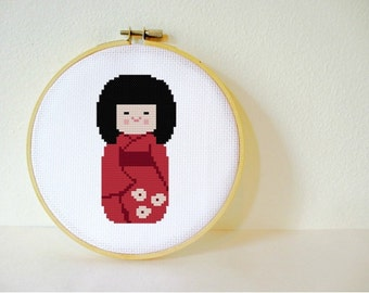 Cross stitch Pattern PDF. Instant download. Japanese Kokeshi Doll. Includes easy beginner instructions.