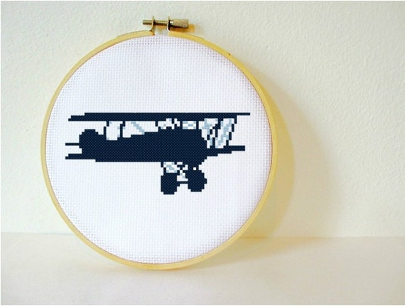 Counted Cross stitch Pattern PDF. Instant download. Vintage Biplane Silhouette. Includes beginner instructions.