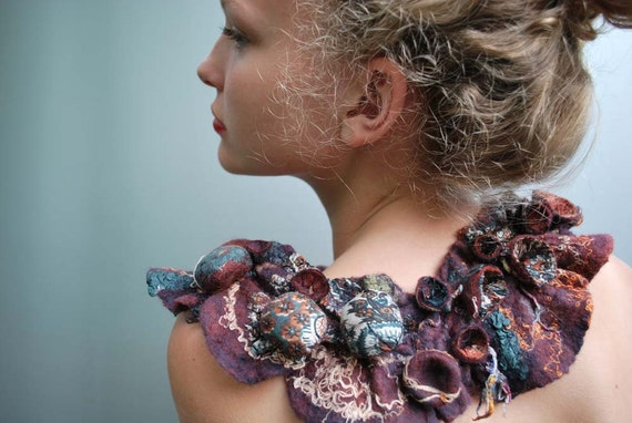 Lovely hand felted collar shibori treasure