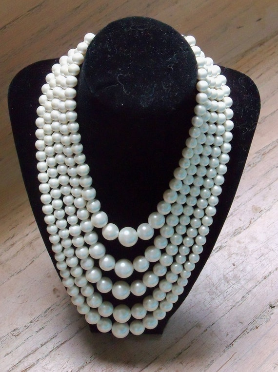 Vintage Pearl Necklace 5 Strand Wedding Bridal Bride Special Occasion Gift
