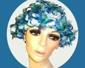 Vintage 1950s Hat High Fashion Dress Hollywood Garden Party Mad Men Rockabilly Femme Fatale Floral Couture Aqua Blue Chiffon