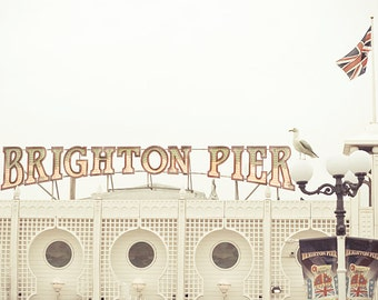Beach photography,Brighton Pier,fine art photography,white,red,8x10