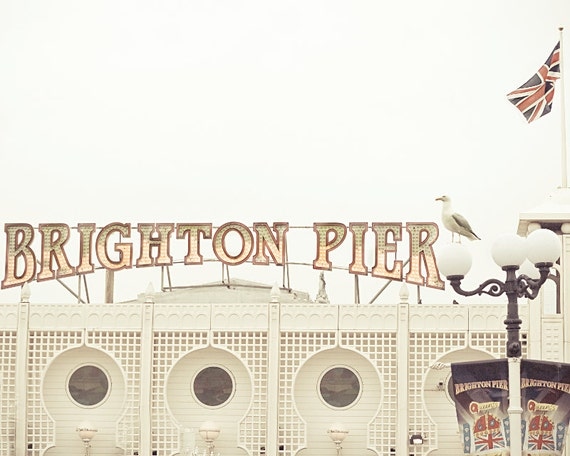 SALE: 25% Off Beach photography,Brighton Pier,fine art photography,white,red,8x10