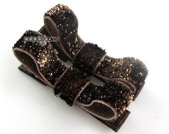 Glitter Hair Clips in Chocolate Brown - Toddler Hair Clips - Baby Hair Clips - No Slip Grip for Fine Hair Tuxedo Bow