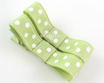 Polka Dot Baby Hair Clips Celery Green - Set of 2 - Matching Pair Alligator Barrettes for Babies Toddlers Girls Polka Dot Tuxedo Bow