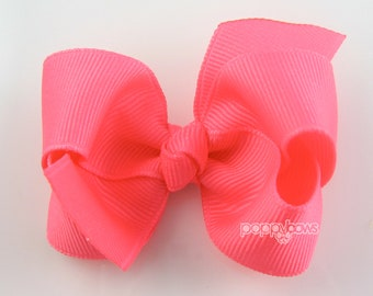 Neon Pink girls hair bow - 2.5 inch small hair bow for girls - toddler hair bow - baby hair bow - boutique bow - hot pink hairbow - knotted