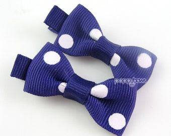 Dark Purple Polka Dots Little Bow Clips - Matching Pair Hair Barrettes for Babies Toddlers Girls No Slip Alligator Clips AP