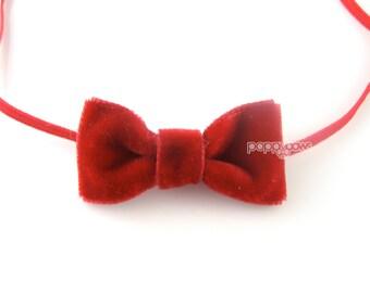 Extra small red velvet baby headband, christmas baby headband, infant headband, newborn headband, velvet bow skinny elastic tiny cute babies