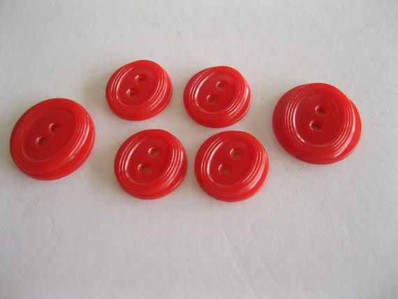 SALE Red Oval Design Buttons - Group of 6