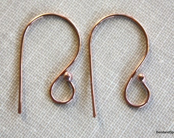 Handmade Bright Copper Ear Wires 20 Gauge Ball End Earwires
