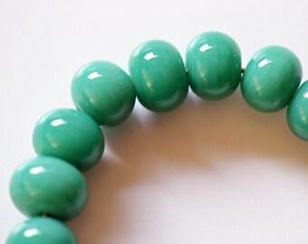 Handmade Lampwork Beads Green Grass Set of 16