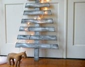 Modern Christmas Tree Wooden Winter Holiday Rustic Distressed Silver - SlippinSouthern