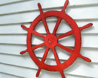 Ships Wheel Sign Nautical Sign Helm Beach Coastal Wall Decor