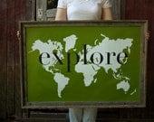 explore Giant Modern World Map Print Poster - 24x36 - green