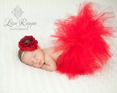 Ready to ship - Newborn Baby Photo Prop Red Tutu Set