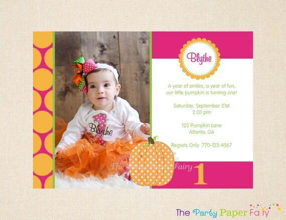 Polka Dot Pumpkin Birthday Party Invitation, Photo 1st Birthday Invitation (Hot Pink, Orange & Green) by The Party Paper Fairy (PDPU-1)