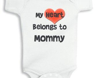 My Heart belongs to mommy personalized baby bodysuit